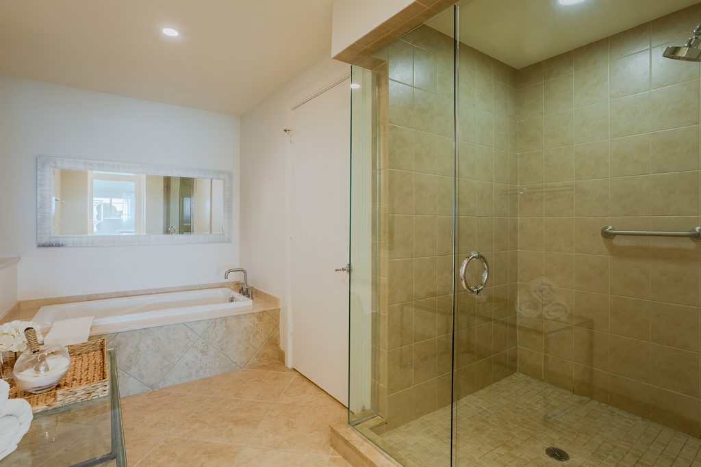 Large Master Bathroom. Walk in shower with grab bar. Soaking tub.