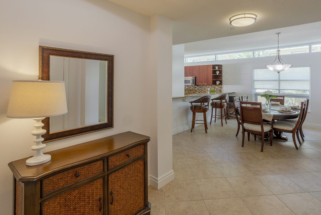 Large foyer entrance. Beach closet. Looking into dining for six. Open concept. Welcoming