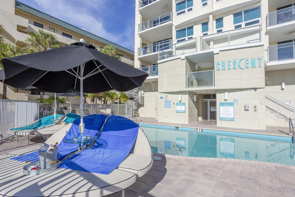 Crescent pool. Beach front pool. Stylish double loungers. Beach towels provided