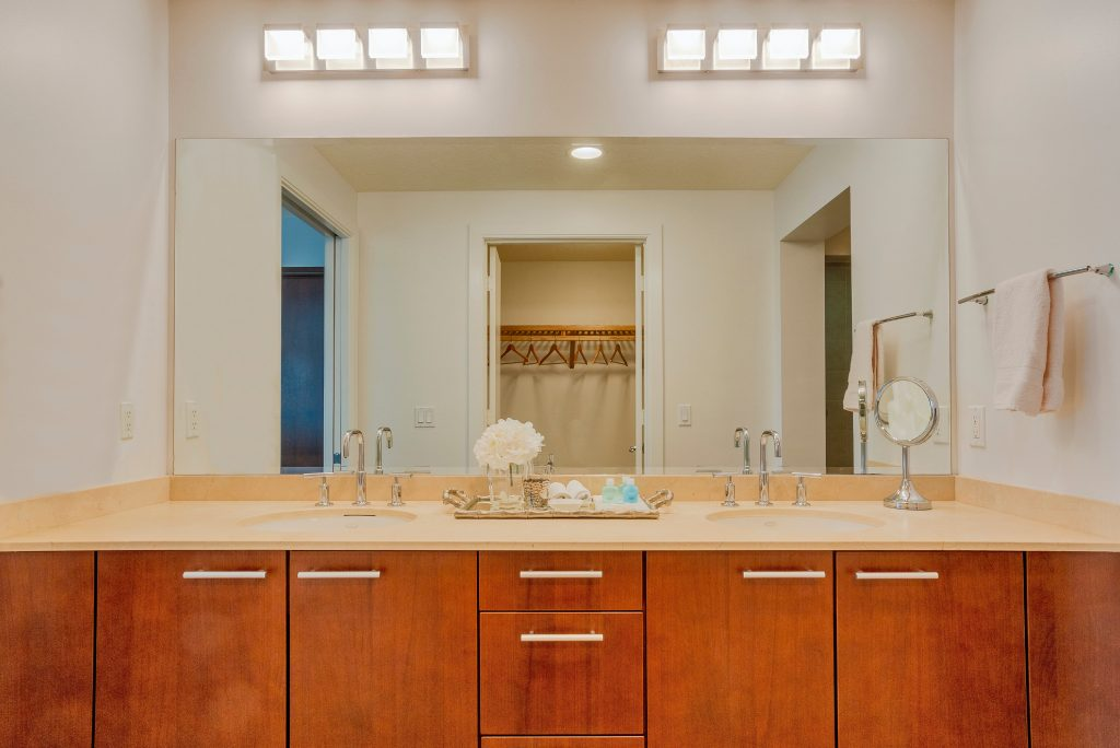 Master bathroom vanity. Double sink. Clean. Walk in closet.
